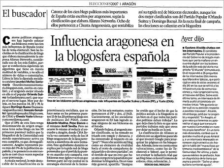"""hda 070522 - HdA: """"Influencia aragonesa en la blogosfera..."""""""
