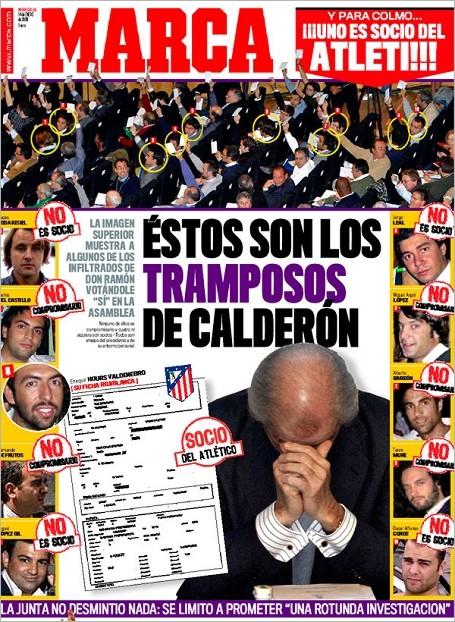 """portada marca 20090114 - MARCA: """"Estos son los tramposos de Calderón"""""""