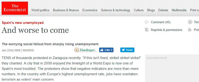 """zaragoza the economist - """"Y lo peor aún está por venir"""", por The Economist"""