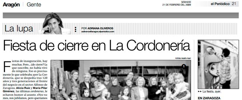 """fiesta cierre cordoneria - El Periódico de Aragón: """"Fiesta de cierre en La Cordonería"""""""