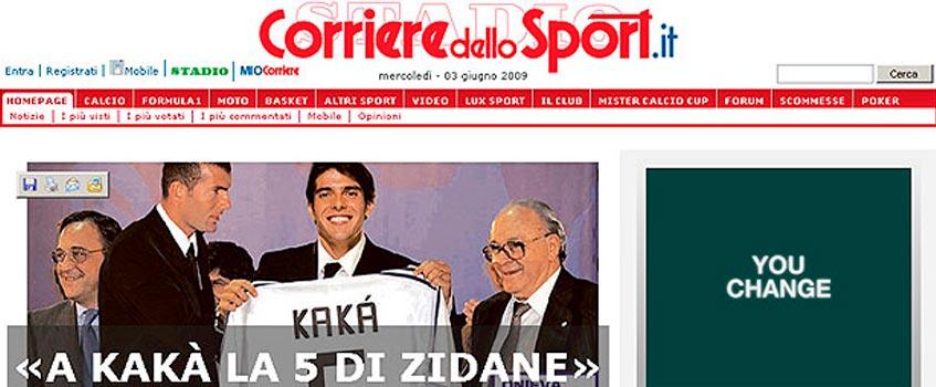 "corrieredellosport kaka 1 - Kaká, el heredero del ""5"" de Zinedine Zidane"