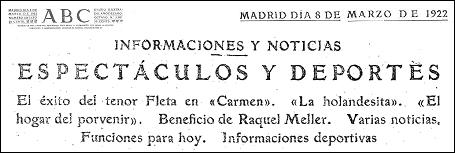 19220308 abc - Recordando el exitoso estreno de Miguel Fleta en el Teatro Real