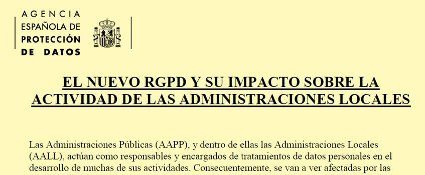 reglamento proteccion datos 2018 - Obligaciones del Reglamento de Protección de Datos para AA.PP.